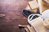 Set of bath items on wooden boards — Stock Photo