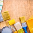 Painting tools on wooden board — Stock Photo #69627029