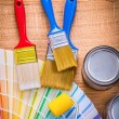 Paint brushes and color palette — Stockfoto #69627243