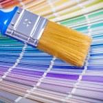 Paint brush on color palette — Stock Photo #69627279