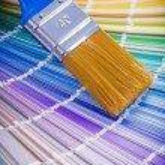Paint brush on color palette — Stock Photo #69627723