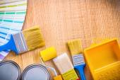 Painting tools on wooden board — Stock Photo