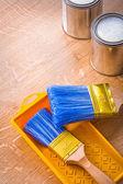 Paint brushes on tray — Stock Photo