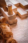 Shavings plane planks — Stock Photo