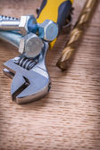 Adjustable wrench On Wooden Board — Stock Photo