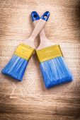 Two blue paint brushes — Stock Photo