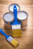 Two paint brushes and three cans — Stock Photo
