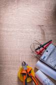 Organized copyspace electrical tools — Stock Photo