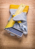 Adjustable wrench square ruler — Stock Photo