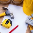 Set of working tools with blank paper — Stock Photo #72700095