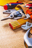 Set of tools in tool belt — Stock Photo