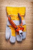 Nippers and protective glove — Stock Photo