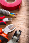 Set of working tools on wooden board — Stock Photo