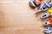 Set of tools on wooden board — Foto Stock