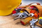 Set of construction tools in toolbelt — Stock Photo