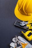 Set of tools on grey background — Stock Photo