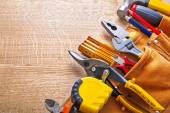 Set of tools on wooden board — Stock Photo