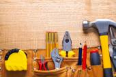 Set of tools in toolbelt — Stock Photo