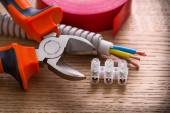 Electric cables with tools — Stock Photo