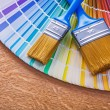 Paint brushes on pantone color palette — Stock Photo #72716033