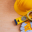 Safety tools and construction level — Stock Photo #72716451