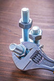 Adjustable spanner metal threaded bolts — Stock Photo