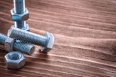 Stainless screw nuts and bolt details — Stock Photo