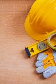 Safety tools and construction level — Stock Photo