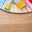 Paint brushes on color palette — Stock Photo #73074647