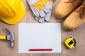 Sheet of paper with construction objects — Stock Photo