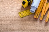 Blueprint and instruments of measurement — Stock Photo