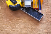 Blueprint and measurement tools — Stock Photo