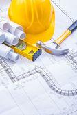 Hammer, blueprints, level, helmet — 图库照片