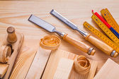 Set of woodwork and joinery tools — Stock Photo
