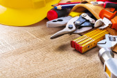 Construction tools in tool belt — Stock Photo