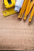 Construction plans and measurement tools — Stock Photo