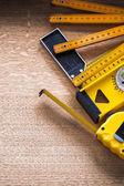 Measuring tools set on board — Stock Photo