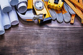 Set of building working tools on board — Stock Photo