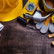Construction drawings and set of building tools — Stock Photo #73634057