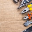 Spanner, cutter, pliers, nippers and ruler — Stock Photo #73634891