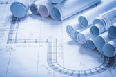 Collection of blueprint rolls — Stock Photo