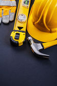 Composition of yellow working tools — Stock Photo