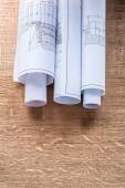 Rolls of construction drawings — Stock Photo