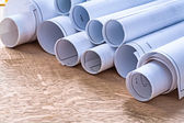 Set of blueprint rolls — Stock Photo