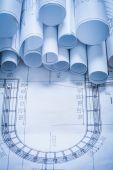 Variety of blueprint rolls — Stock Photo