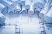 Variety of construction drawings — Stock Photo