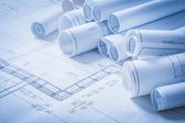 Variety of engineering construction drawings — Stock Photo