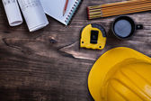 Workbook pencil blueprints instruments of measurement — 图库照片