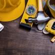 Construction drawings and set of building objects — Stock Photo #74283393