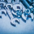 Spanner, wrenches, bolts and screw nuts — Stock Photo #74284109